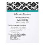 4x5 Directions Card Black Damask Teal Reception Custom Invites