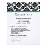 4x5 Directions Card Black Damask Teal Reception Personalized Invitation