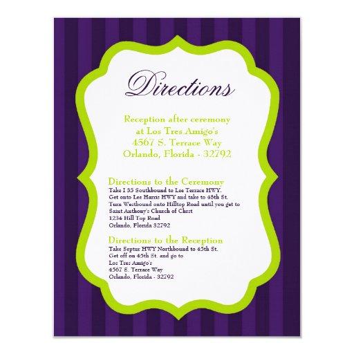 "4x5 Directions Card Lime Green & Purple Stripe 4.25"" X 5.5"" Invitation Card"