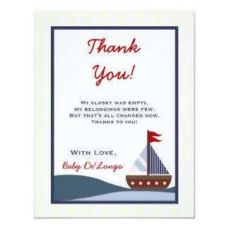 4x5 FLAT Thank you Card Ahoy Mate Sailboat Whale