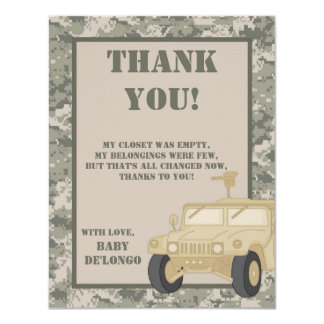 4x5 FLAT Thank You Card ARMY ACU Camoflauge Digita Personalized Invitation
