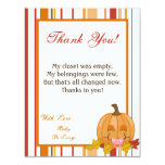 4x5 FLAT Thank You Card Autumn Fall Pumpkin Baby Personalized Invite