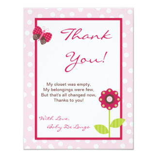 4x5 FLAT Thank You Card Berry Garden Lady Bug