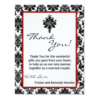 4x5 FLAT Thank You Card Black Red Damask Lace