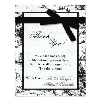 4x5 FLAT Thank you Card Black Toile Fabric Print