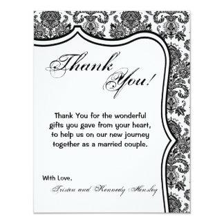 4x5 FLAT Thank You Card Black White Damask Lace Pr