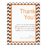 4x5 FLAT Thank You Card Brown Orange Chevron