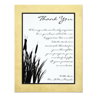 4x5 FLAT Thank You Card Cattail/Dragonfly Silhouet