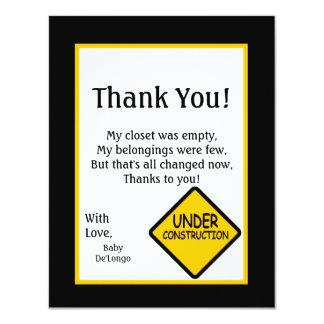 4x5 FLAT Thank you Card Construction Custom Invitation