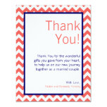 4x5 FLAT Thank You Card Coral Navy Blue Chevron
