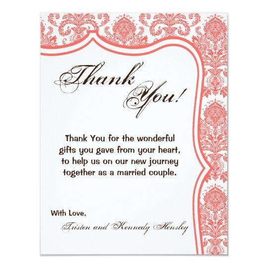 4x5 FLAT Thank You Card Coral White Damask Lace