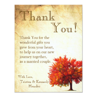 4x5 FLAT Thank You Card Fall Tree Aged Paper Vin