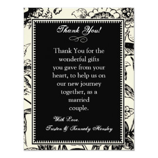 4x5 FLAT Thank You Card Floral Toile