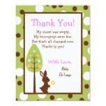 4x5 FLAT Thank you Card Forest Friends Bunny Announcement