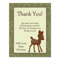 4x5 FLAT Thank You Card Forrest Animal Owl Deer