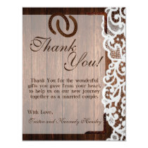 4x5 FLAT Thank You Card Horse Shoes on Barn Wood