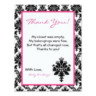 4x5 FLAT Thank you Card Hot Pink Black Damask