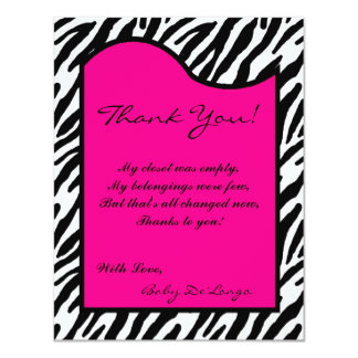 4x5 FLAT Thank you Card Hot Pink Zebra Print