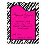 4x5 FLAT Thank you Card Hot Pink Zebra Print Custom Announcements