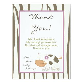 4x5 FLAT Thank You Card Jacana Girl Jungle Zoo