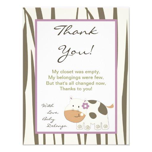 4x5 FLAT Thank You Card Jacana Girl Jungle Zoo Announcement