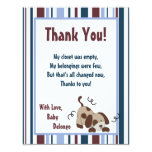 4x5 FLAT Thank You Card Lil League Puppy Dog Personalized Invitation