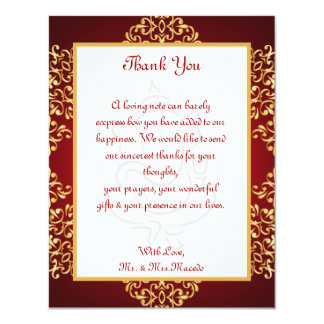 4x5 FLAT Thank You Card Lord Ganesha/Hindu Red Spi