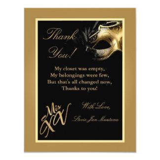 "4x5 FLAT Thank you Card Mis XV Gold 4.25"" X 5.5"" Invitation Card"