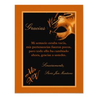 "4x5 FLAT Thank you Card Mis XV Orange 4.25"" X 5.5"" Invitation Card"