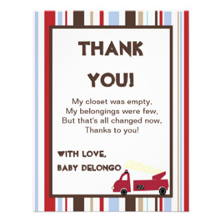 4x5 FLAT Thank You Card Nojo Fire Engine Invitations