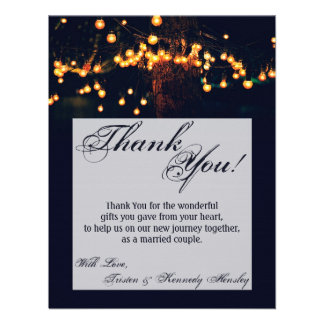 4x5 FLAT Thank You Card Oak Tree String Lights Nig Personalized Announcements
