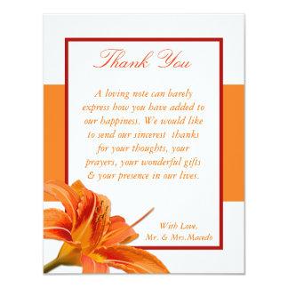 4x5 FLAT Thank You Card Orange Tiger Lilly w/Strip