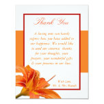 4x5 FLAT Thank You Card Orange Tiger Lilly w/Strip Personalized Invites