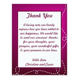 4x5 FLAT Thank You Card Paper Plane Purple Loop