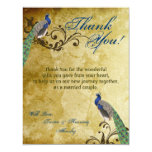 4x5 FLAT Thank You Card Peacock Vintage Feathers