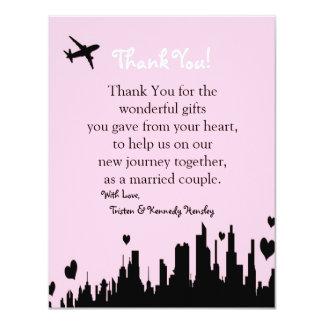 4x5 FLAT Thank You Card Pink City Line
