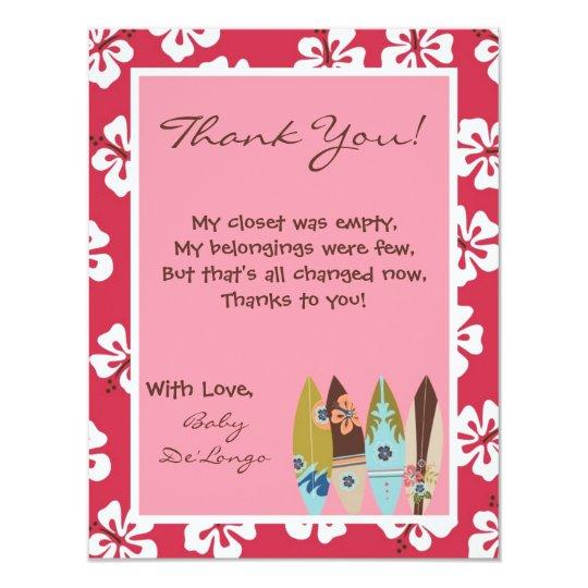 4x5 FLAT Thank you Card Pink Hawaiian Luau Tropica