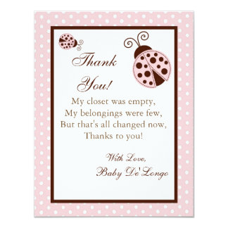 4x5 FLAT Thank you Card Pink Ladybug