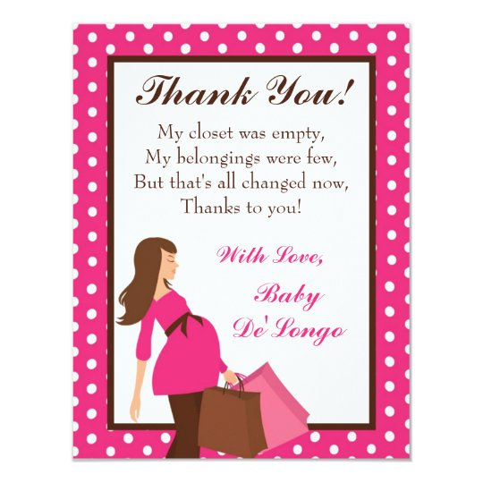 4x5 FLAT Thank you Card Pink Mod Mom Polka Dots