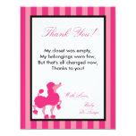 "4x5 FLAT Thank you Card Pink Poodle Paris Eiffel 4.25"" X 5.5"" Invitation Card"
