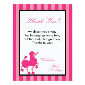 4x5 FLAT Thank you Card Pink Poodle Paris Eiffel Personalized Invite
