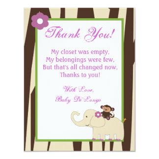 4x5 FLAT Thank You Card Purple Jacana Baby Shower Personalized Invite