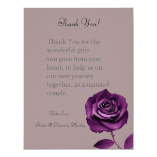 4x5 FLAT Thank You Card Purple Rose