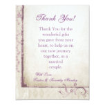 4x5 FLAT Thank You Card Purple Spring Floral Personalized Invitation