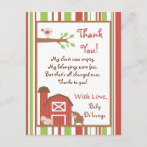 4x5 FLAT Thank you Card Red Barn Farm