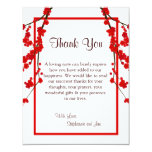 4x5 FLAT Thank You Card Red Cherry Blossom Personalized Invite