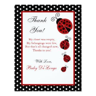 4x5 FLAT Thank you Card Red Ladybug