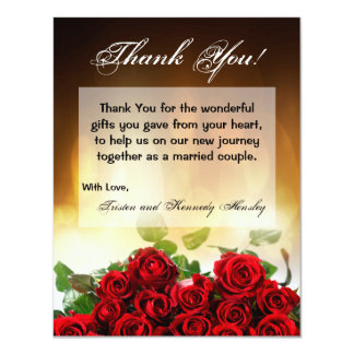 4x5 FLAT Thank You Card Red Rose Bouquet Bridal