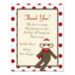 4x5 FLAT Thank you Card Red Sock Monkey Custom Invites