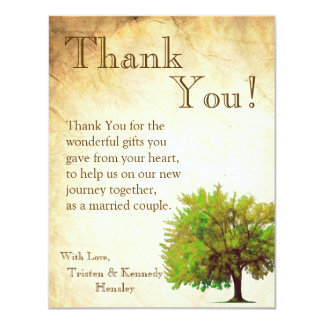 4x5 FLAT Thank You Card Spring Tree Aged Paper Vin